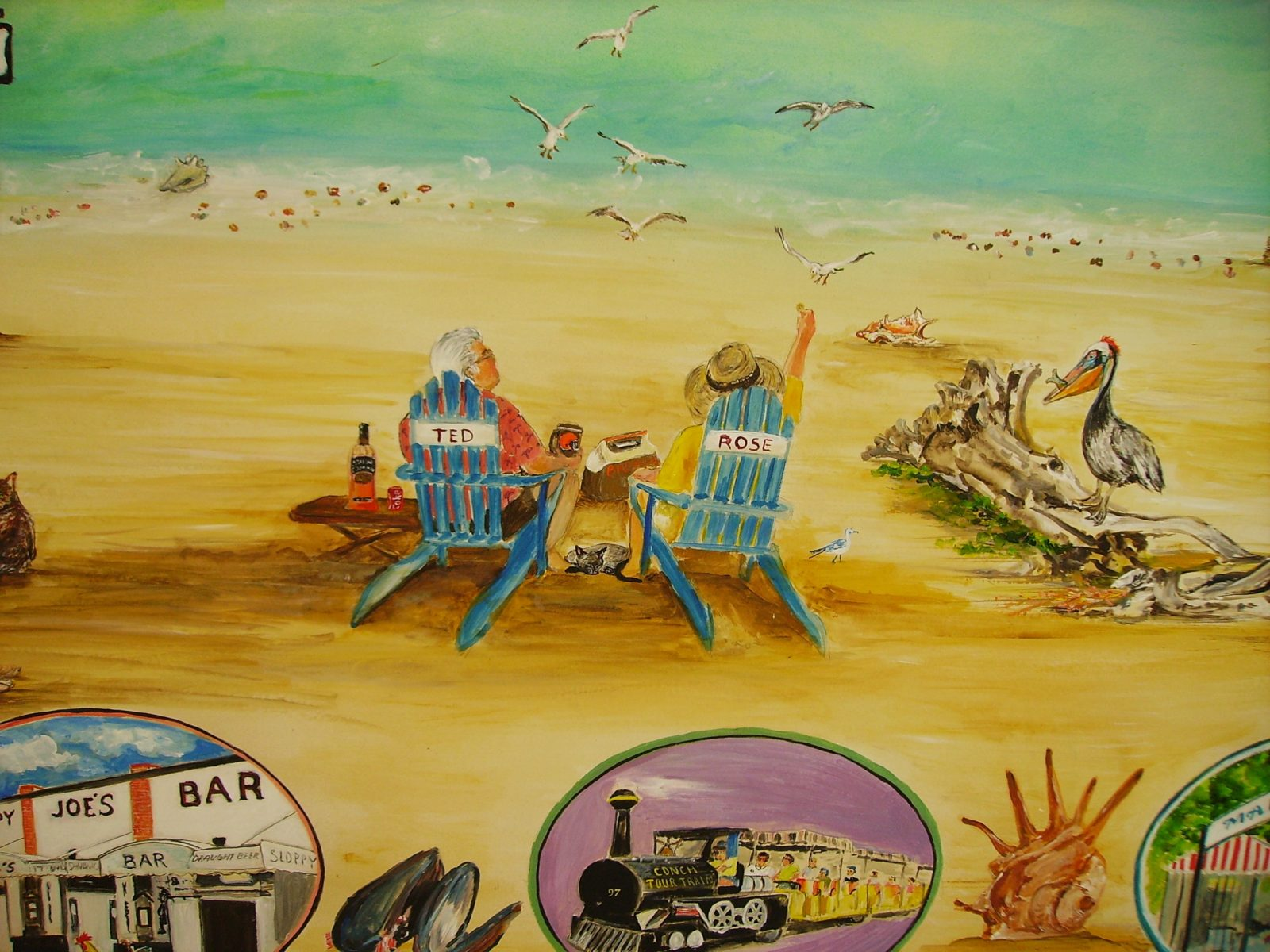 Custom Hand Painted Mural of Couple's Key West Vacation 6' x 15'